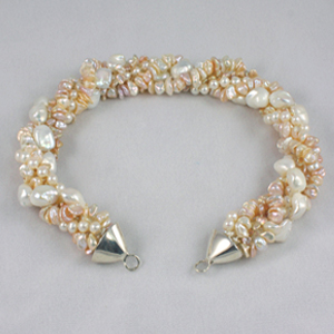 White and Peach Pearl Strand