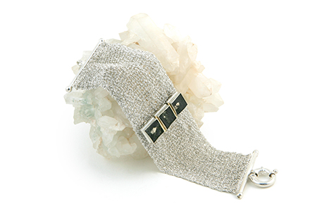 Sterling Silver Mesh Bracelet with Pyrite and Slate