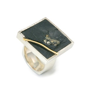 Pyrite and Slate Ring - Square