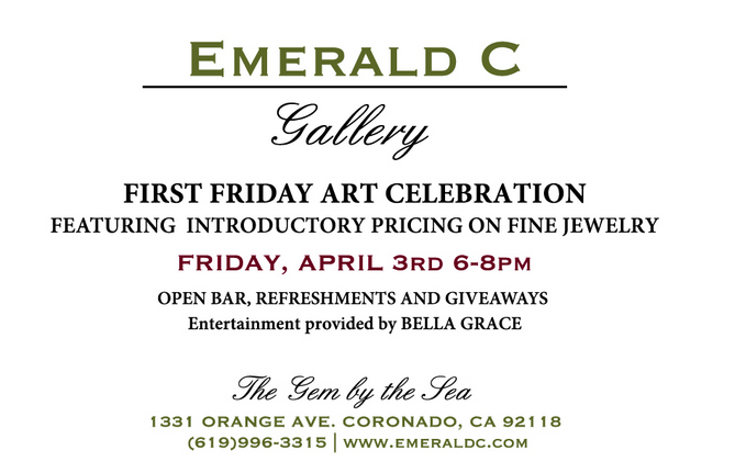 Friday Featured Artist At Emerald C Gallery on Coronado Island!